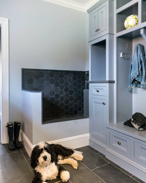 Black Hexagon Tiles Home Dog Wash Station Ideas