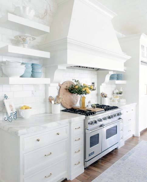 White Painted Wood Kitchen Hood