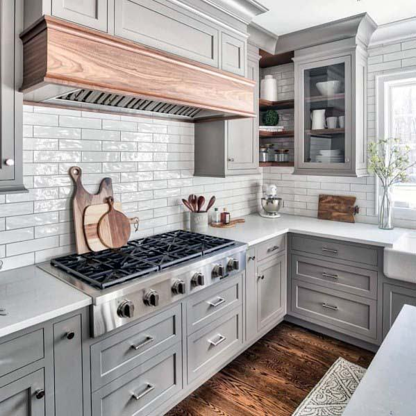 Cool Kitchen Hood Grey With Unstained Wood