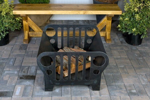 Home Designs Backyard Τζιπ Themed Metal Pit Fire