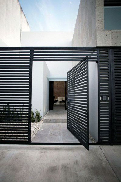 Home Modern Fence Ideas With Metal Gate