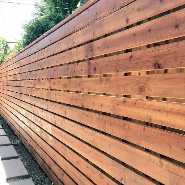 Wood Backyard Modern Fence Design Inspiration