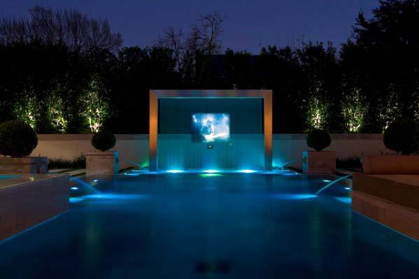 Home Design Ideas Steel Beam Pool Waterfall