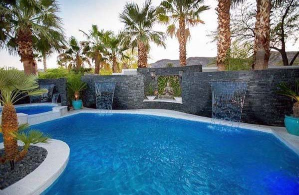 Black Rock Tile Walls Home Ideas Pool Waterfall