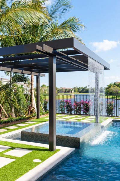 Modern Steel Pergola Backyard Pool Waterfall