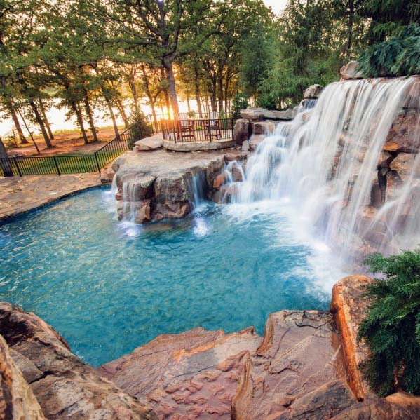 Natural Looking Magnificent Pool Waterfall Design Ideas