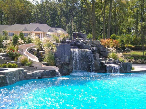 Natural Rock Home Pool Waterfall Ideas