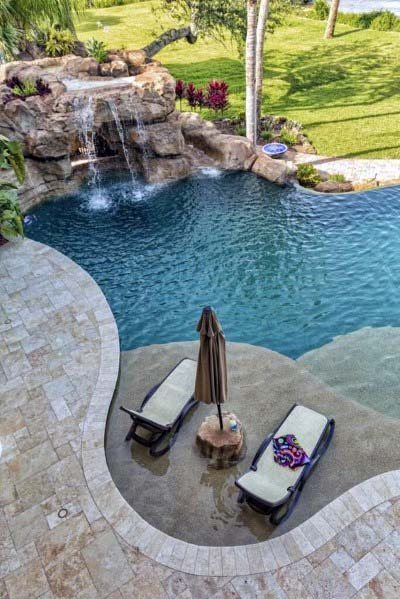 Natural Stone Rock Backyard Pool Waterfall Design