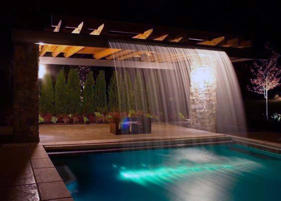 Pergola Backyard Ideas Pool Waterfall