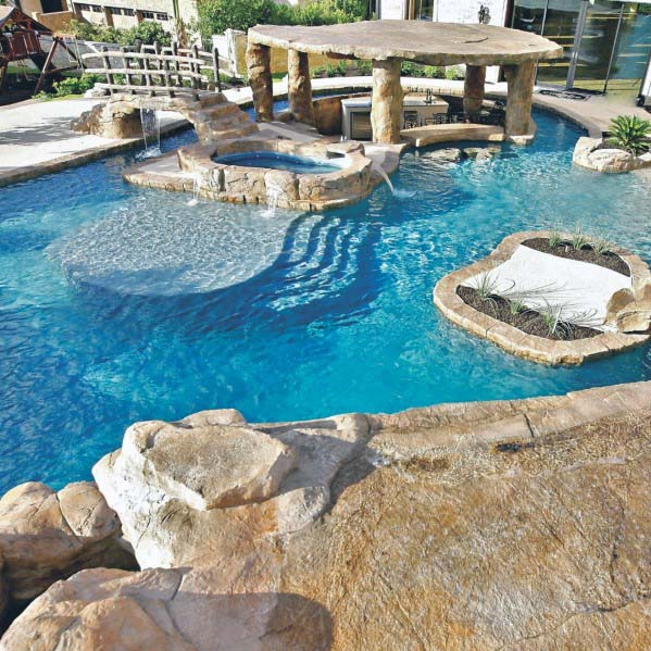 Bridge With Waterfall Pool Design Ideas