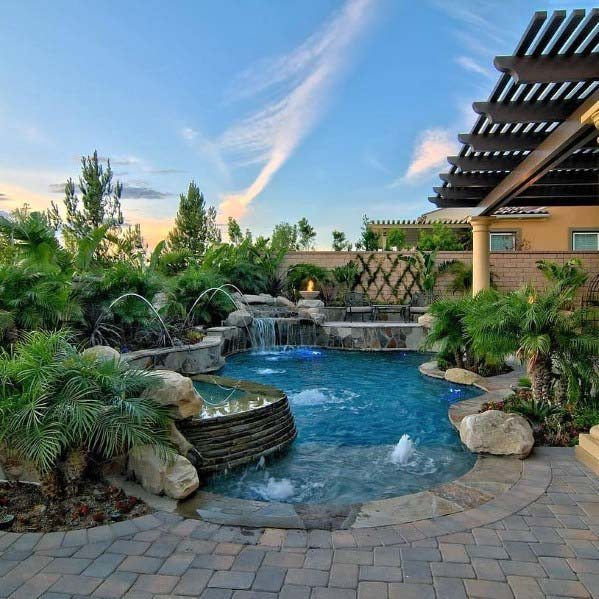 Pool Waterfall Backyard Design