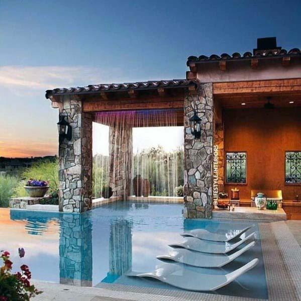 Pool Waterfall Backyard Ideas