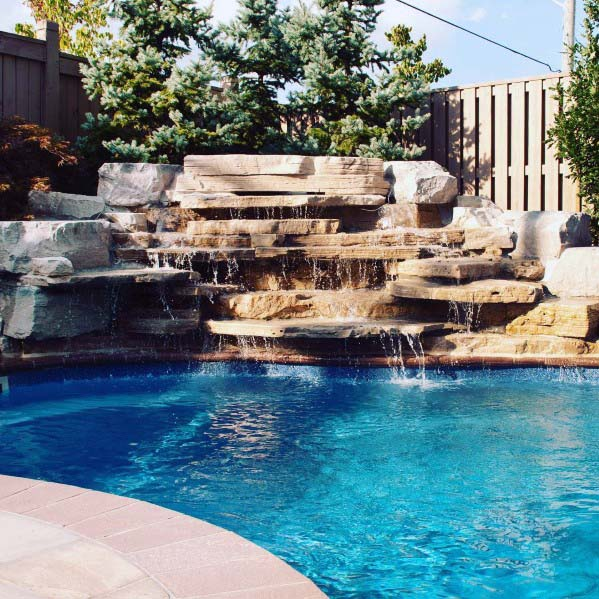 Pool Waterfall Cool Backyard Ideas