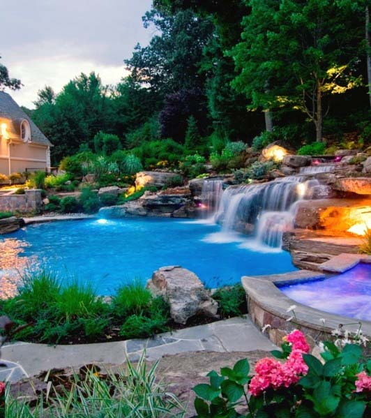 Pool Waterfall Home Designs