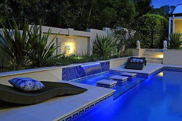 Contemporary Blue Tile Wall Designs For Pool Waterfall