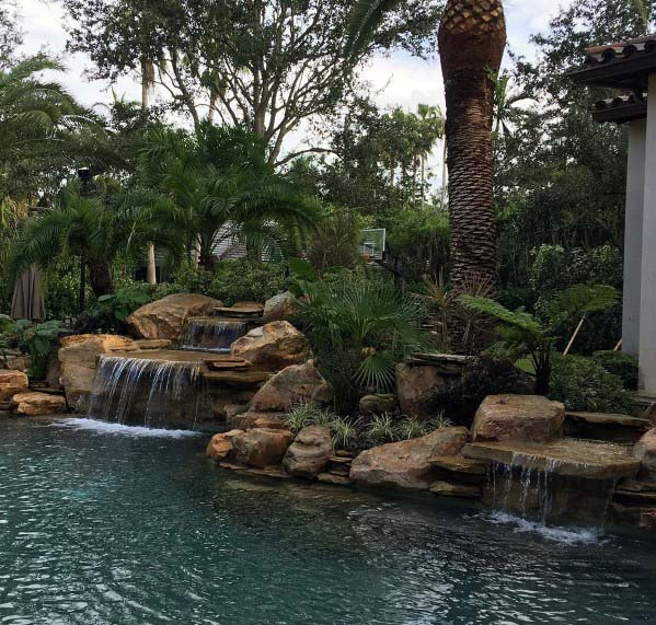 Rock Backyard Designs Pool Waterfall