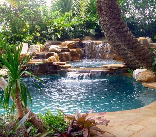 Sleek Pool Waterfall Ideas