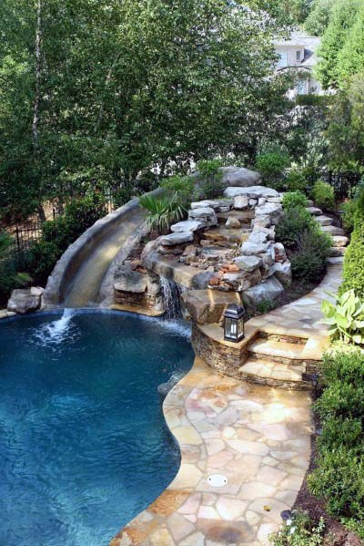 Stones House Pool Waterfall Ideas