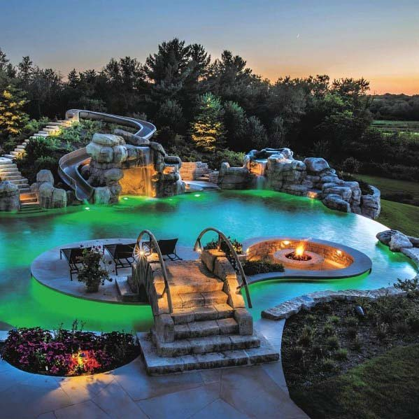Unique Pool Backyard Waterfall Slide Designs