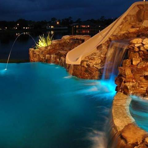 Unique Pool Waterfall With Slide