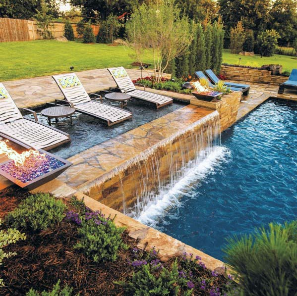 Excellent Backyard Ideas Stone Pool Waterfall