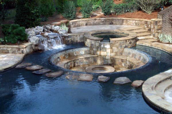 Fire Pit Pool Stone Waterfall Ideas