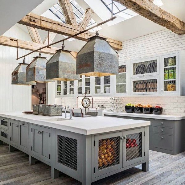 Incredible Skylight Wood Beam Ceiling Rustic Kitchen Ideas