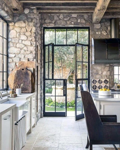 Natural Stone Rock Walls Rustic Kitchen Ideas