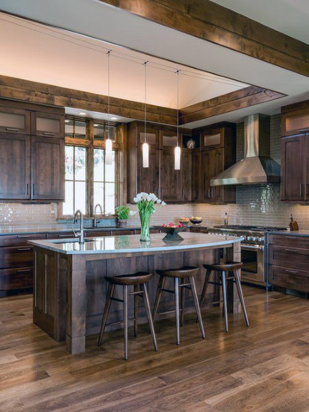 Stained Wood Cabinetry Rustic Kitchen Ideas