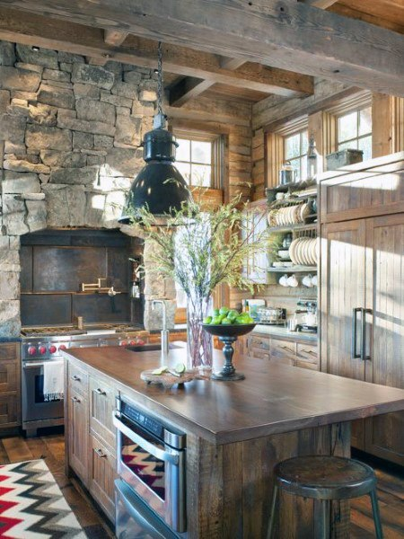 Vintage Stone Wall Fireplace With Wood Cabinets Rustic Kitchen Ideas