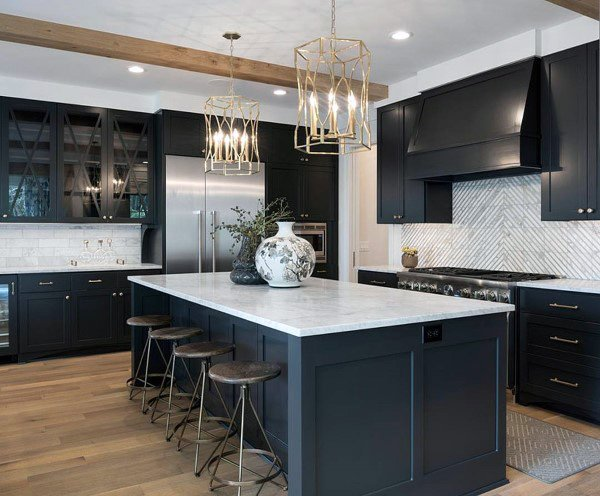Dark Grey Cabinets Rustic Kitchen Ideas