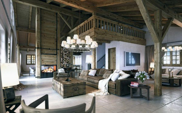 Amazing Wood Cabin Rustic Living Room Ideas