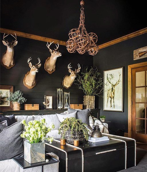 Black Painted Walls Rustic Living Rooms