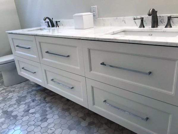 Contemporary Grey Bathroom Vanity Ideas With Silver Hardware And Marble Countertops