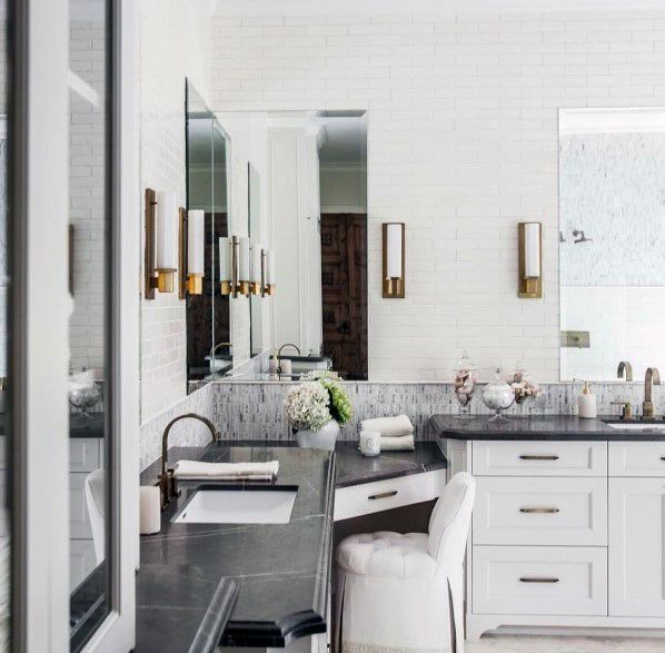 White Bathroom Vanity Home Designs With Black Marble Countertops