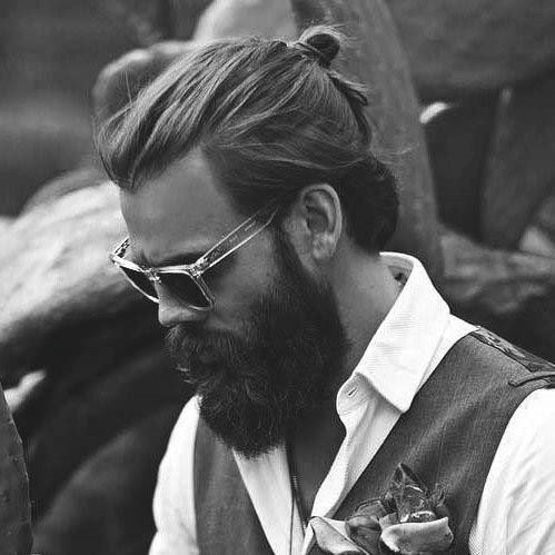 Top Knot Male Long Hairstyles For Round Faces