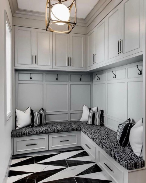 Light Grey Traditional Cabinetry Mudroom Ideas