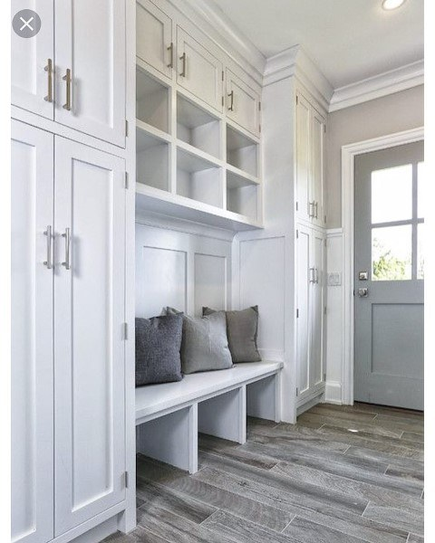 Mudroom Ideas White Painted Cabinets With Light Grey Hardwood Floors