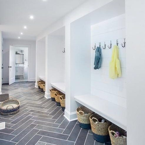 Pattern Tile With White Bench Mudroom Ideas
