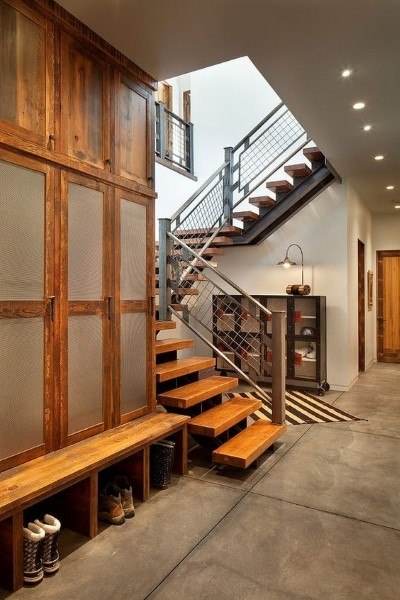 Rustic Wood And Glass Lockers Mudroom Ideas