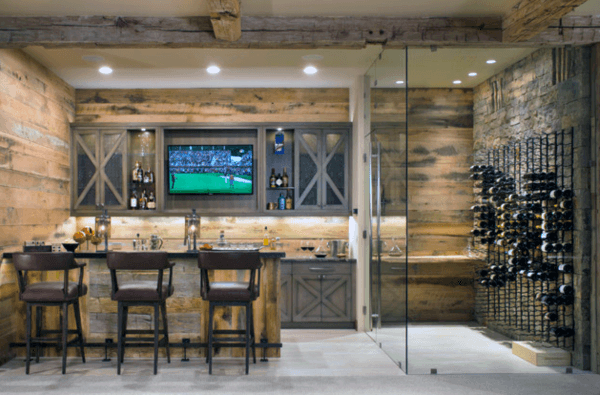 Wine Cellar With Attached Rustic Bar Ideas