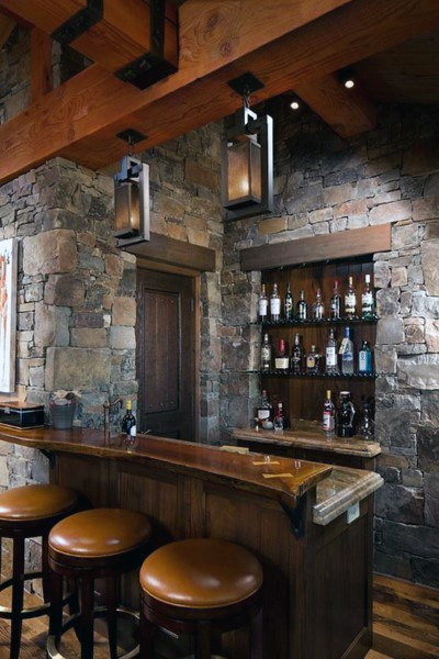 Stone And Wood Luxury Home Bar Rustic Basement Designs