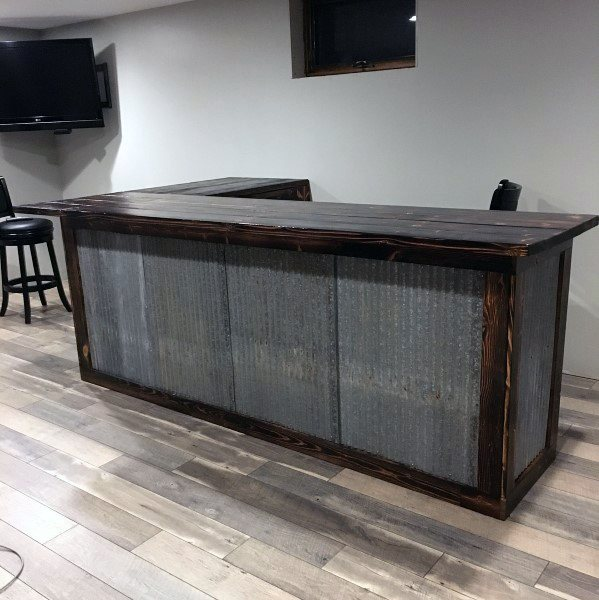 Tin And Wood Bar Design For Home Basement