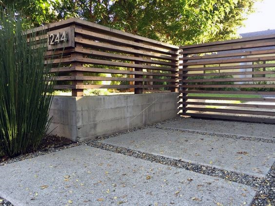 Front Yard Exterior Designs Concrete And Wood Fence