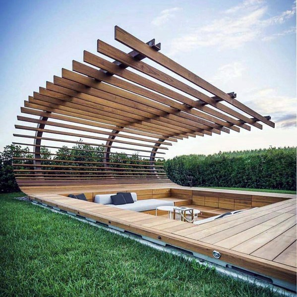 Ideas For Home Wooden Fence Curved Sunken Deck