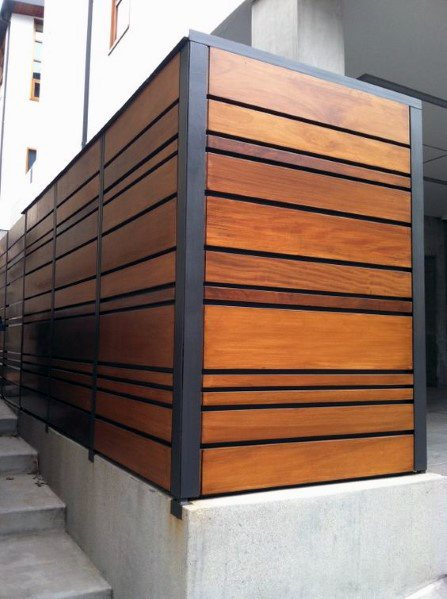 Metal And Ipe Wood Fence Cool Exterior Ideas