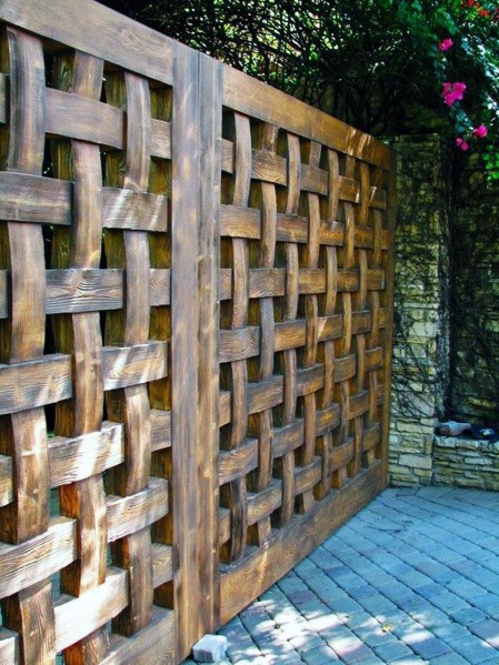 Woven Wood Backyard Wooden Fence Design