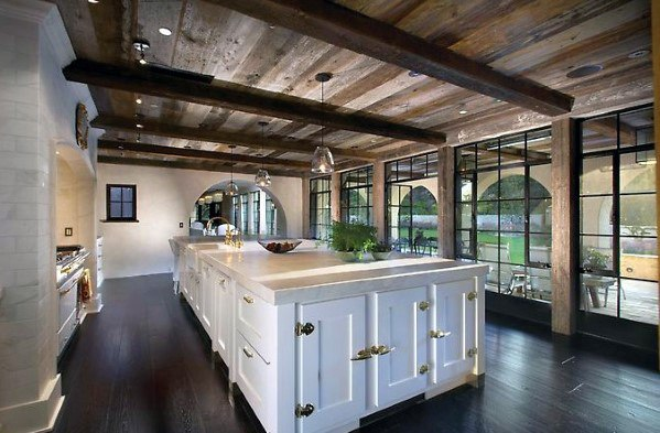 Dark Vintage Wood Kitchen Ceiling Ideas With Beams