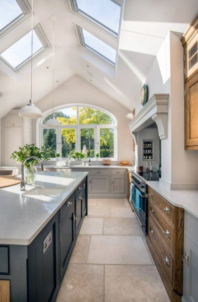 Four Skylights Kitchen Ceiling Ideas