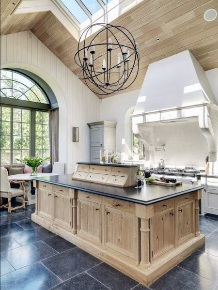 Light Natural Wood With Skylights Kitchen Ceiling Ideas